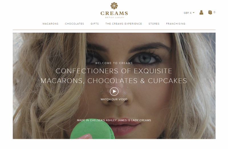 A screenshot of the Creams TP website homepage